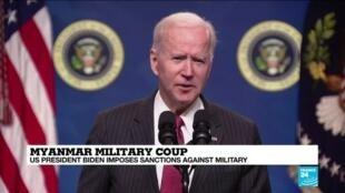 2021-02-11 14:05 Biden says US will sanction military leaders, family members behind Myanmar coup