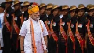 Le Premier ministre indien, Narendra Modi, le 13 août 2019, au Fort Rouge de New Delhi.
