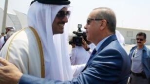 صورة وزعتها الرئاسة التركية لأمير قطر الشيخ تميم بن حمد اثناء استقباله أردوغان في الدوحة، 24 تموز/يوليو 2017