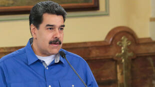 El presidente de Venezuela, Nicolás Maduro, durante una reunión con miembros del gobierno en el Palacio de Miraflores, en Caracas, el 15 de mayo de 2019.