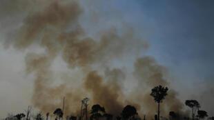 Imagen de una zona quemada de la reserva de la selva amazónica, al sur de Novo Progresso en el estado de Pará, el 16 de agosto de 2020.