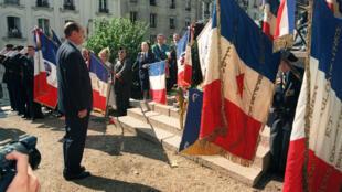 Jacques Chirac le 16 juillet 1995 lors des cérémonies commémoratives de la rafle du Vel d'Hiv, à l'occasion desquelles le président a reconnu la responsabilité de la France dans la déportation des juifs.