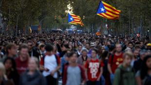 Una de las protestas convocadas después de la sentencia condenatoria contra líderes independentistas, en Barcelona, España, el 15 de octubre de 2019.
