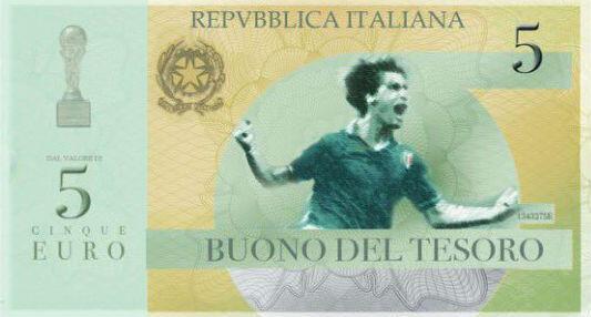"""Ébauche de """"mini-bots"""" d'une valeur de 5 euros à l'effigie du footballeur italien Marco Tardelli"""
