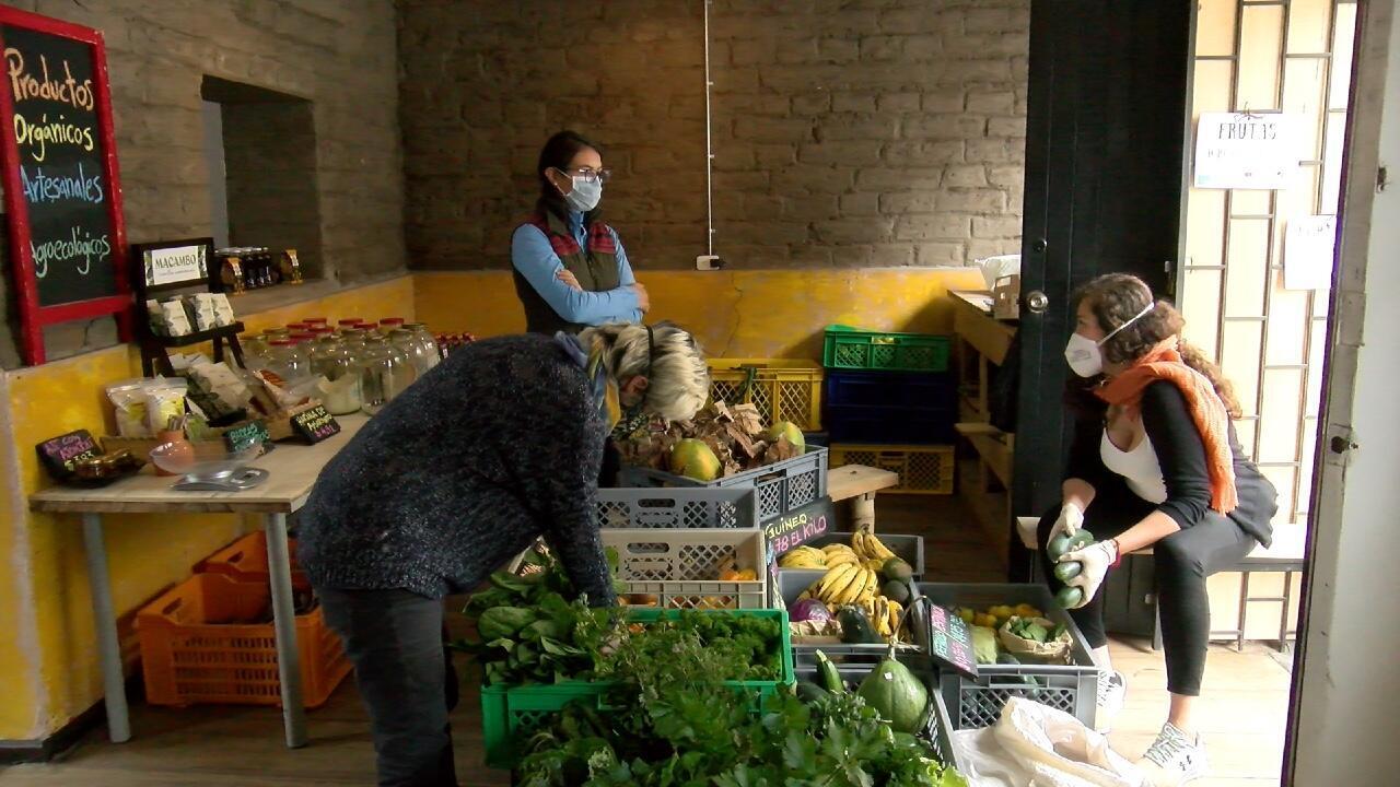 Parte del equipo de promoción del sistema alternativo de acceso a alimentos implementado en medio de la pandemia en Ecuador.