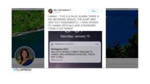 Trino de la diputada demócrata de Hawái en la Cámara de Representantes Tulsi Gabbard, enviado el 13 de enero de 2018.