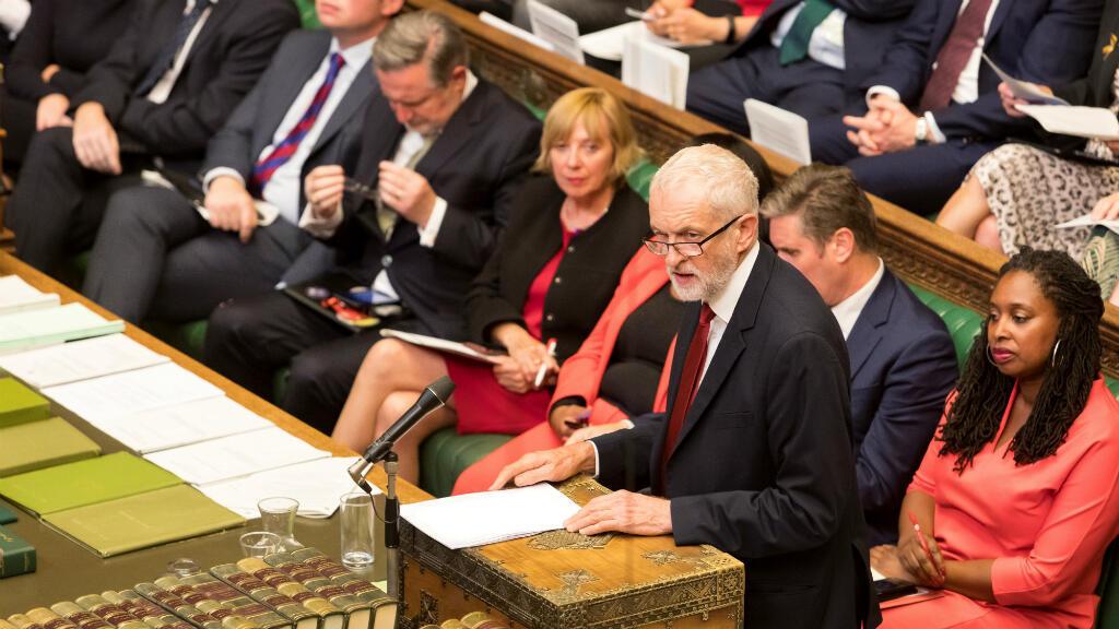 El líder del Partido Laborista, Jeremy Corbyn, habla en la Cámara de los Comunes, Londres, Reino Unido, el 3 de septiembre de 2019.