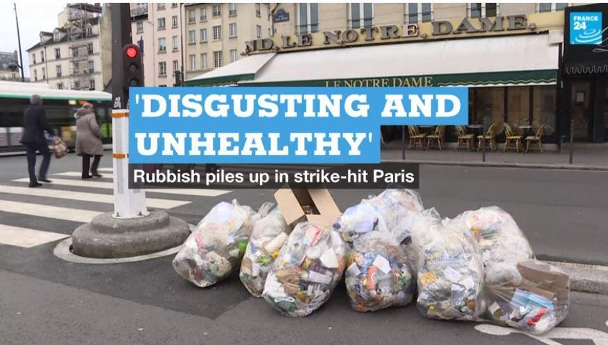 Rubbish piles up amid Paris strikes