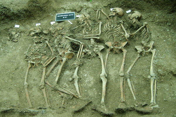Fouille d'une sépulture de cinq soldats allemands en 2010 à la Main de Massiges, en Champagne
