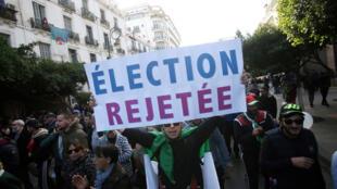 Manifestations lors du premier tour de l'élection présidentielle algérienne, le 12 décembre 2019