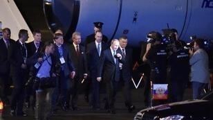 Vladimir Putin arrives at the airport in Brisbane, Australia to take part in the G20 summit.
