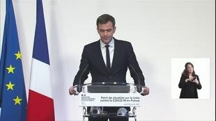 French Health Minister Olivier Véran addresses a news conference in Paris on January 28, 2021.