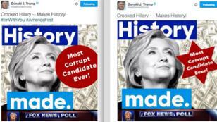 Donald Trump a effacé son tweet polémique pour remplacer l'étoile à six branche par un rond, le 2 juillet 2016.