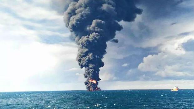 El 14 de enero el Ministerio de Transporte de China registró el incendio provocado tras una nueva explosión en el buque petrolero Sanchi.