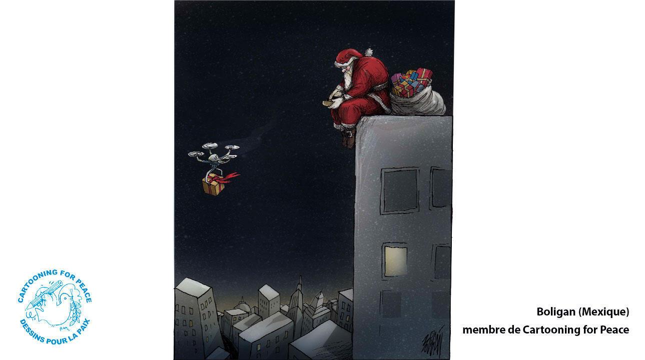 Au XXIe siècle, le Père Noël remplace ses rênes par un drone.