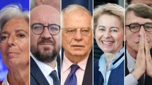 De izquierda a derecha: Christine Lagarde, Charles Michel, Josep Borrell, Ursula von der Leyen y David Sassoli.