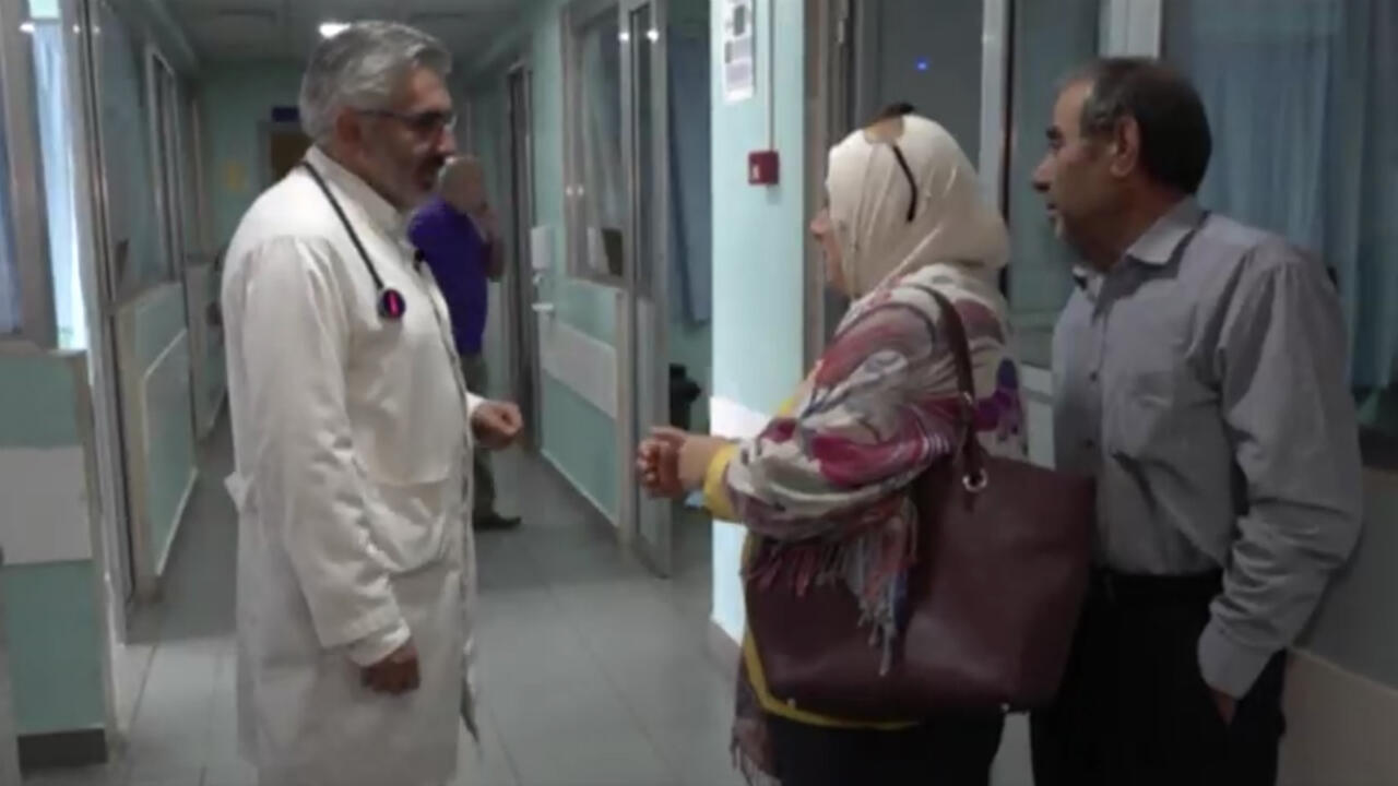 FRANCE 24 screen grab showing cardiologist  Dr. Ali Koweyes at a hospital in Lebanon.