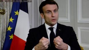 Emmanuel Macron sur TF1, interwievé à L'Elysée, le 2 février 2021