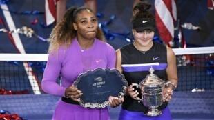 الأمريكية سيرينا وليامس والكندية بيانكا أندرييسكو بعد نهائي بطولة أمريكا المفتوحة للتنس، 7 سبتمبر/أيلول 2019.
