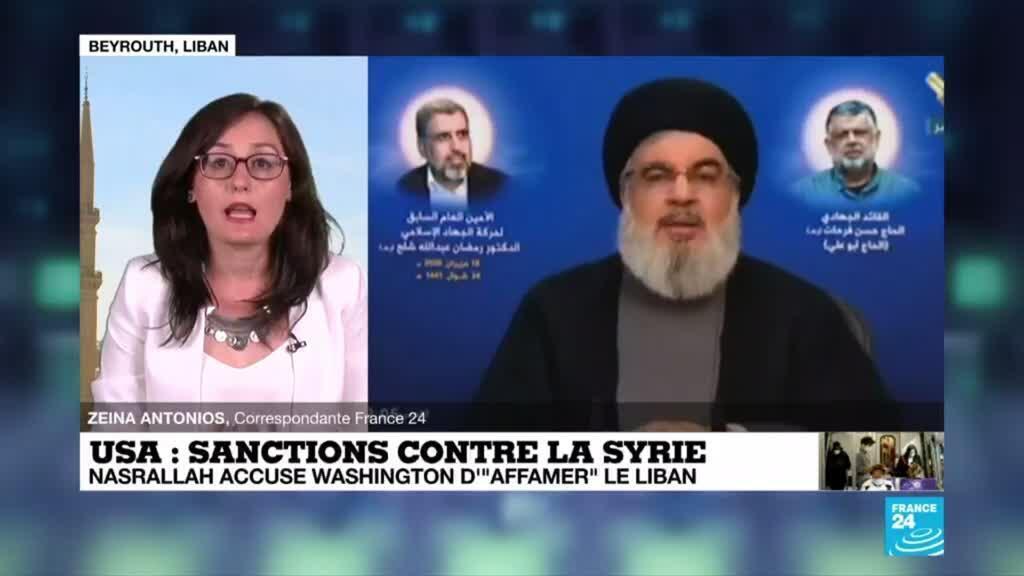 "2020-06-17 15:06 Sancrions contre la Syrie : Nasrallah accuse Washington d'""affamer"" le Liban"