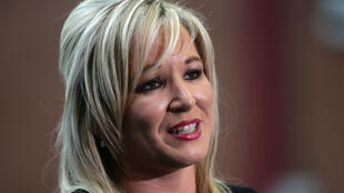 (File Photo) Sinn Fein's Michelle O'Neill speaks to the media at the count centre for the Northern Ireland Assembly elections in Belfast, Northern Ireland, March 3, 2017.