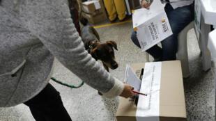 Una mujer deposita su voto en una mesa de votación durante las elecciones presidenciales en Bogotá, Colombia. 27 de mayo de 2018.