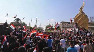 متظاهرون في مدينة كربلاء، في 31 أكتوبر/تشرين الأول 2019.