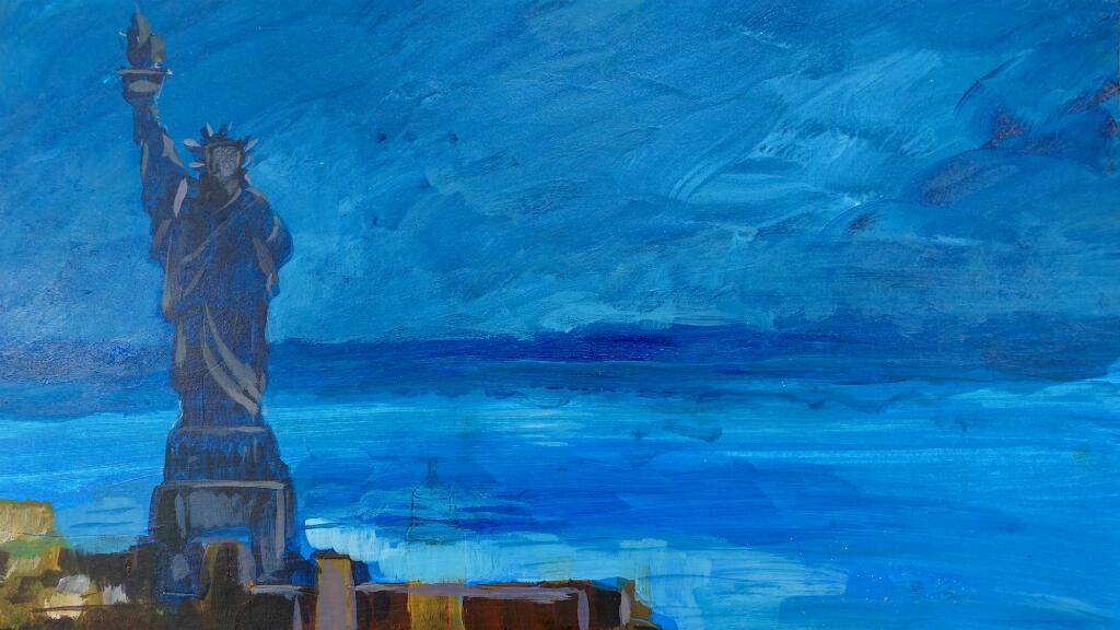 La Statue de la Liberte a New York peinte par le detenu Muhammad Ansi