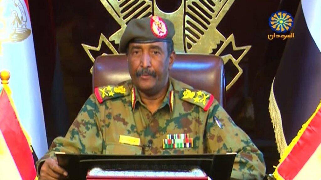 رئيس المجلس العسكري الانتقالي في السودان الفريق أول ركن عبد الفتاح البرهان. 13 أبريل/نيسان 2019