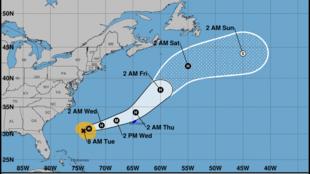 Trayectoria del huracán Humberto pronosticada por el Centro Nacional de Huracanes. 17 de septiembre de 2019