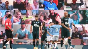 صورة تظهر المشجعين يحتفلون من منازلهم بالهدف الذي سجله البرازيلي غابريال جيزوس (وسط) لمانشستر سيتي ضد ضيفه نيوكاسل في الدوري الانكليزي لكرة القدم، مانشستر، شمال غرب انكلترا، في 8 تموز/يوليو 2020
