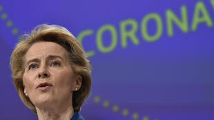 European Commission President Ursula von der Leyen holds a press conference on the EU response to the COVID-19 crisis at the EU headquarters in Brussels on April 15, 2020.