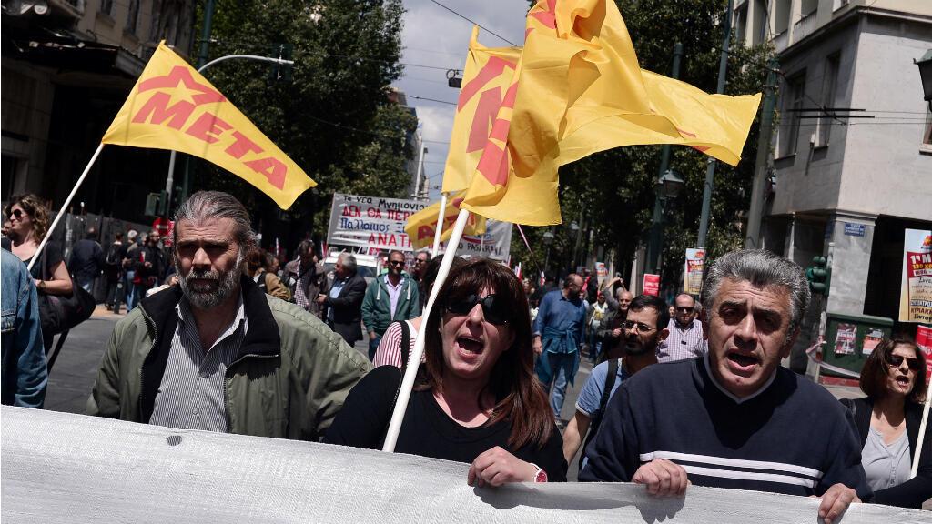 Des manifestants marchent vers le Parlement à Athènes, le 6 mai 2016.