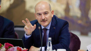 Turkish Interior Minister Suleyman Soylu speaks during a news conference for foreign media correspondents in Istanbul, Turkey, August 21, 2019.