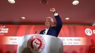 El primer ministro y candidato del Partido Socialista (PS), António Costa, tras conocerse los resultados preliminares de las elecciones en Lisboa, Portugal, el 7 de octubre de 2019.