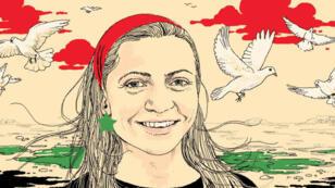 Dessin représentant Razan Zaitouneh, partagé sur les réseaux sociaux