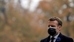 الرئيس الفرنسي إيمانويل ماكرون، باريس، 11 نوفمبر/ تشرين الثاني2020.