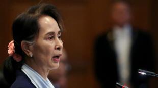 Aung San Suu Kyi le 11 décembre 2019 à La Haye.