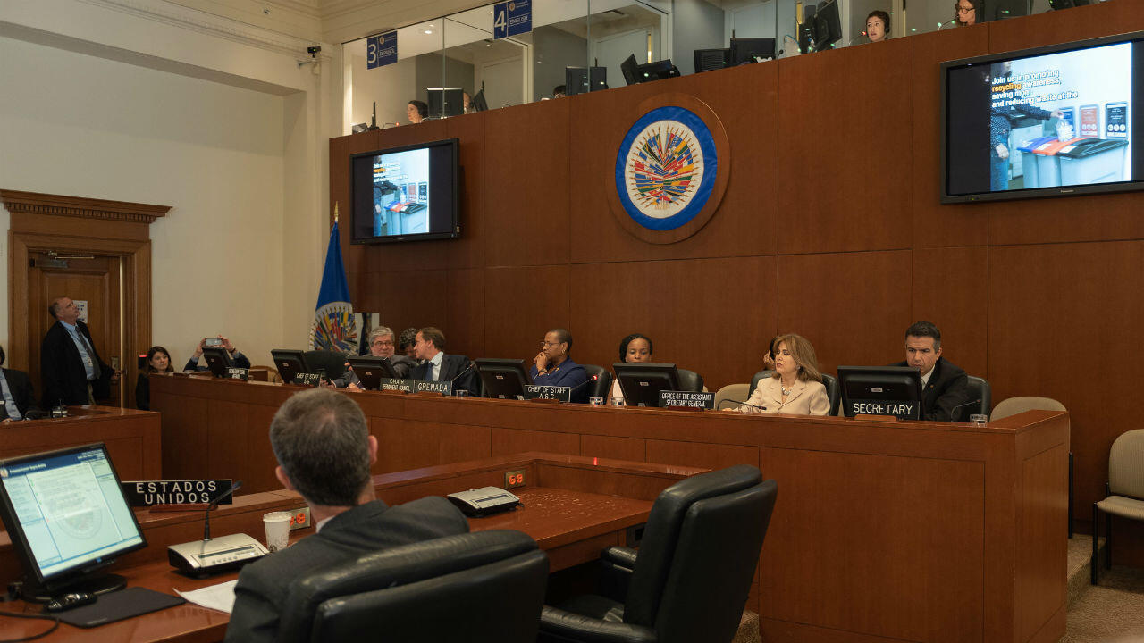 Imagen de la sesión del Consejo Permanente de la Organización de Estados Americanos en Washington D.C., EE. UU., el 11 de septiembre de 2019. La OEA aprobó convocar a una reunión del Órgano de Consulta del Tiar.