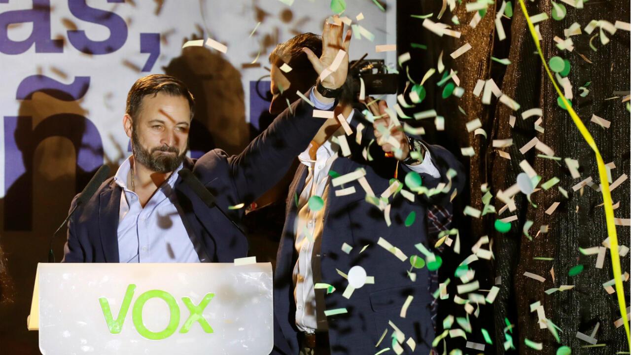 El presidente y candidato de Vox celebra los resultados de las elecciones del 28 de abril en Madrid, España. 28 de abril de 2019.