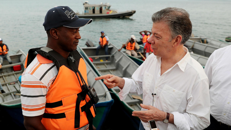 Presidente Juan Manuel Santos en su visita al municipio de Tumaco