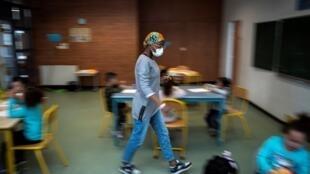 L'école élémentaire de Borderouge, à Toulouse, restée ouverte pendant le confinement pour les enfants des personnels essentiels, le 16 avril.