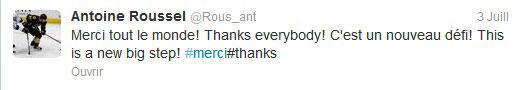 Message de Antoine Roussel sur son compte Twitter après l'annonce de son contrat avec les Stars de Dallas