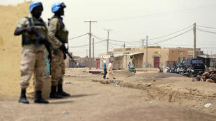 United Nations soldiers patrol on July 27, 2013 in the northern Malian city of Kidal