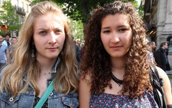 University students Alexane and Luala came to honour Cédric Méric, but said they feared further violence from right-wing groups.