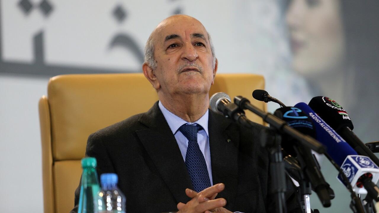 Le président algérien Abdelmadjid Tebboune lors d'une conférence de presse à Alger, le 13 décembre 2019