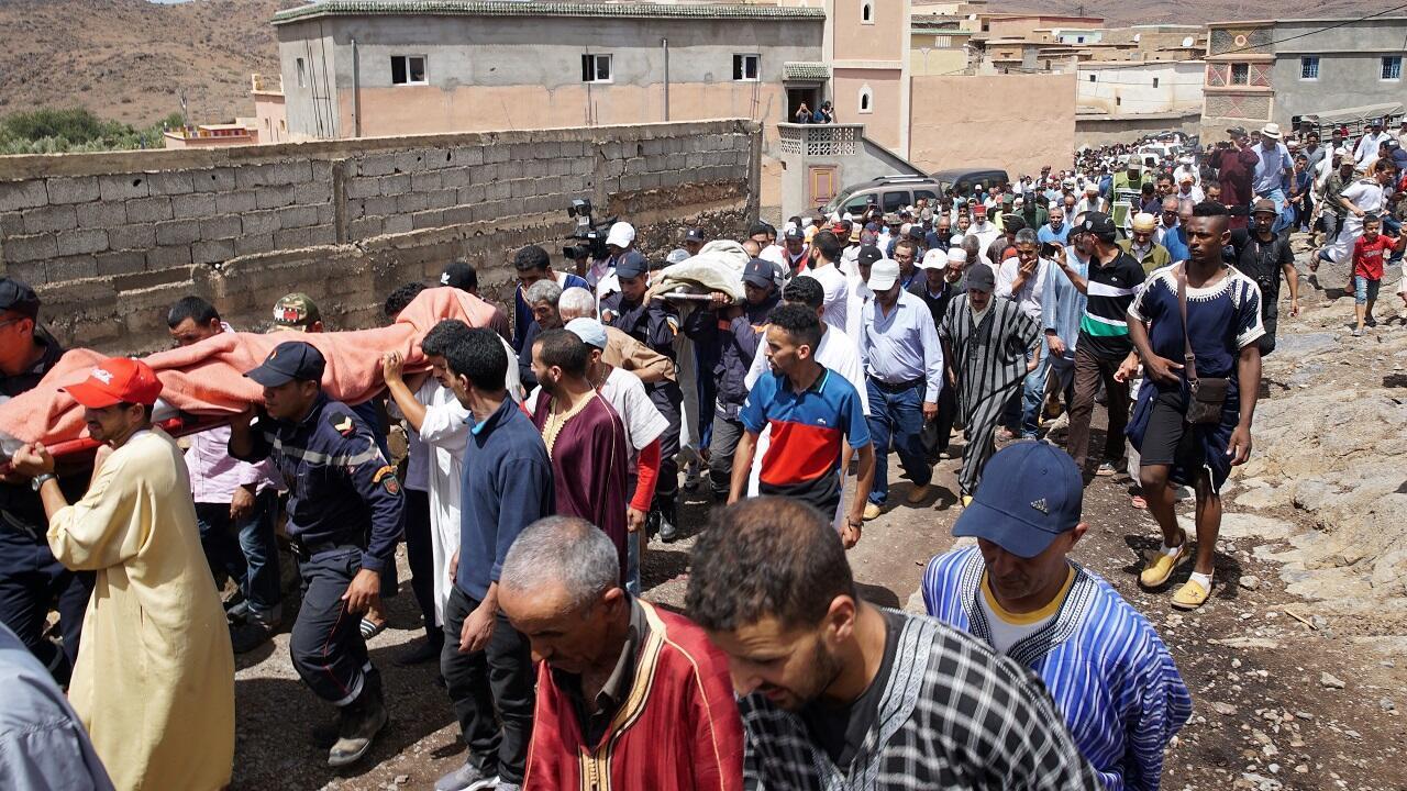 تشييع ضحايا فيضانات جنوب المغرب 29 أغسطس/آب 2019.