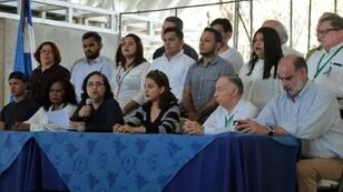 Nicaraguan Azaleah Solis (3-L), member of the opposition Civic Alliance for Justice, speaks during a press conference in Managua on March 19, 2019