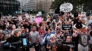 Manifestación contra los campos de detención de inmigrantes en Estados Unidos, el 12 de julio de 2019, en el distrito de Manhattan de Nueva York, EE. UU.