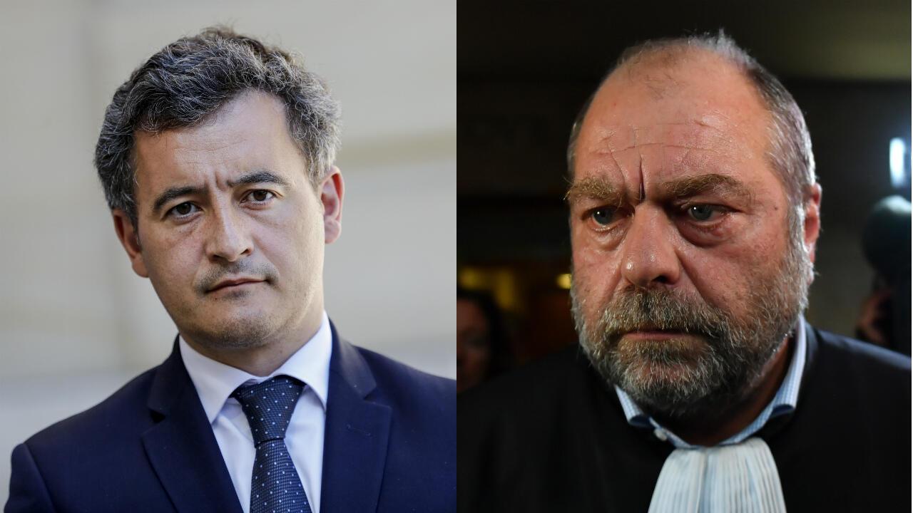 وزير العدل الفرنسي الجديد إيريك دوبون-موريتي وزميله في الداخلية جيرالد دارمانان.